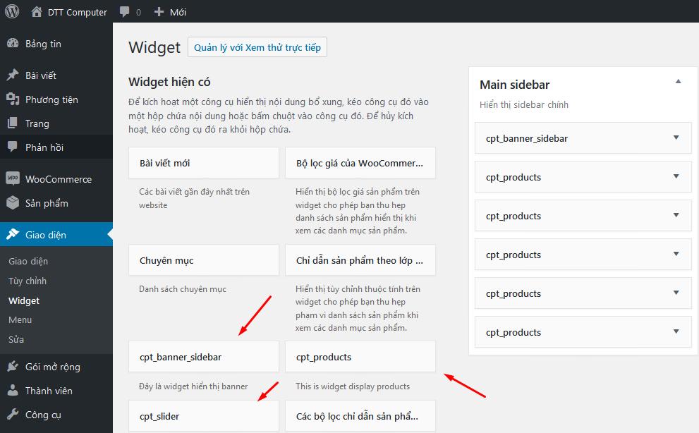 Cách thêm và sử dụng Widget Wordpress widget1