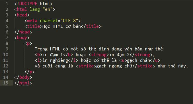 Các thẻ heading và định dạng chữ viết trong văn bản the-dinh-dang-van-ban-trong-html