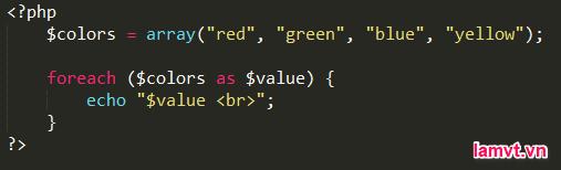 Vòng lặp trong PHP foreach-loop