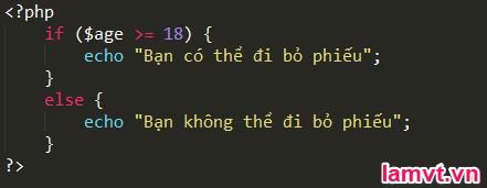 Câu lệnh điều khiển trong PHP if_else_example