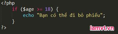 Câu lệnh điều khiển trong PHP if_example