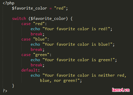 Câu lệnh điều khiển trong PHP switch_example