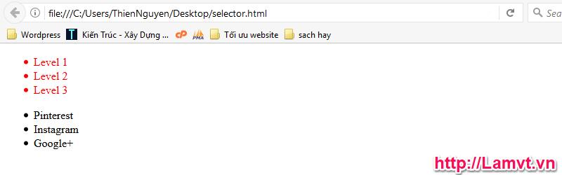 Vùng chọn trong CSS (CSS Selector) kq-selector-theo-phan-cap