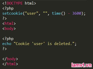COOKIE và SESSION trong PHP delete_cookie