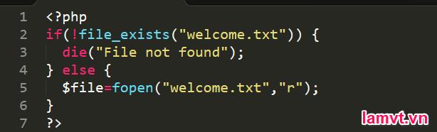 Cách xử lý lỗi trong PHP check_exits