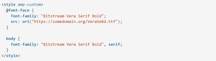 Cách định dạng và bố cục trang AMP HTML include_font