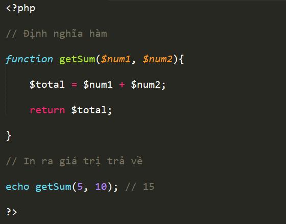 Làm thế nào để định nghĩa và gọi hàm trong PHP? return_value