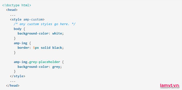 Cách định dạng và bố cục trang AMP HTML style-1