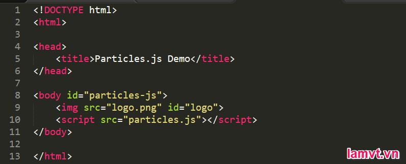 Hướng dẫn tạo hiệu ứng các hạt chuyển động sử dụng Particles.js particles-html-file