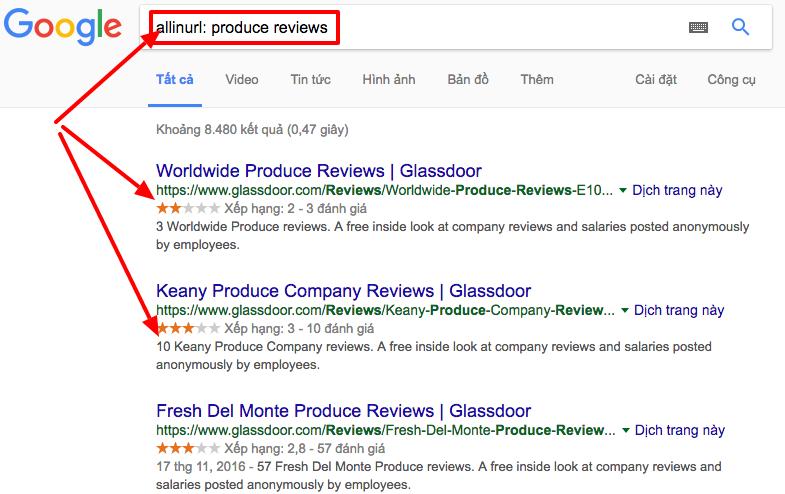 Làm thế nào để sử dụng Toán tử Tìm kiếm Link Building một cách khả quan allinurl-produce-reviews-Tìm-với-Google