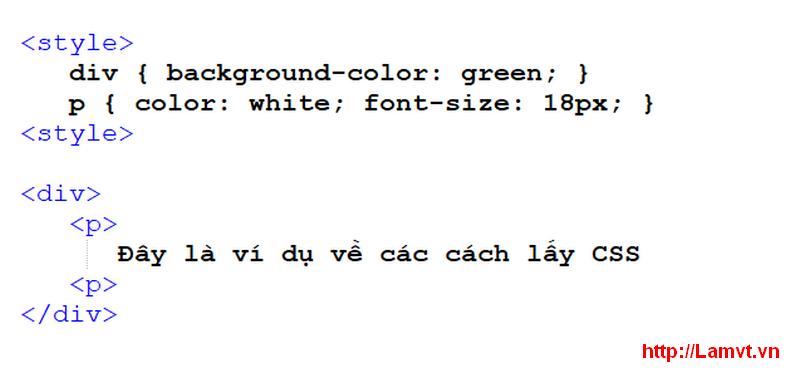 Cú pháp CSS (Syntax CSS) internal-css-1
