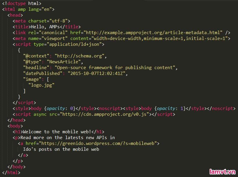 AMP HTML là gì? Cách tạo trang AMP cho người mới bắt đầu amp_html_code-1