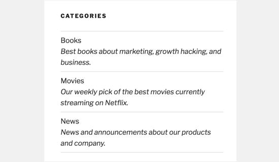 101 cách hiển thị mô tả danh mục trong Wordpress listcategorydesc