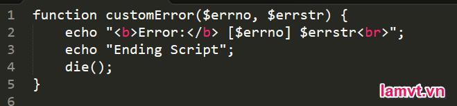 Cách xử lý lỗi trong PHP handel_error