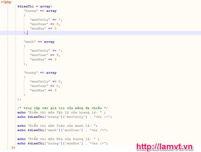 Mảng và các hàm hỗ trợ mảng trong PHP phần 1 (PHP Arrays) mang-da-chieu