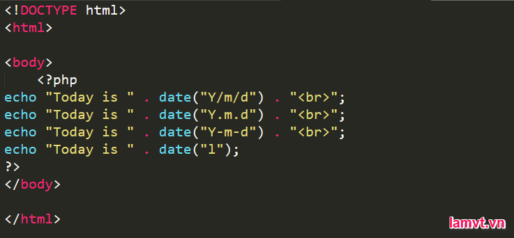 Học cách sử dụng DateTime trong PHP datetime-example