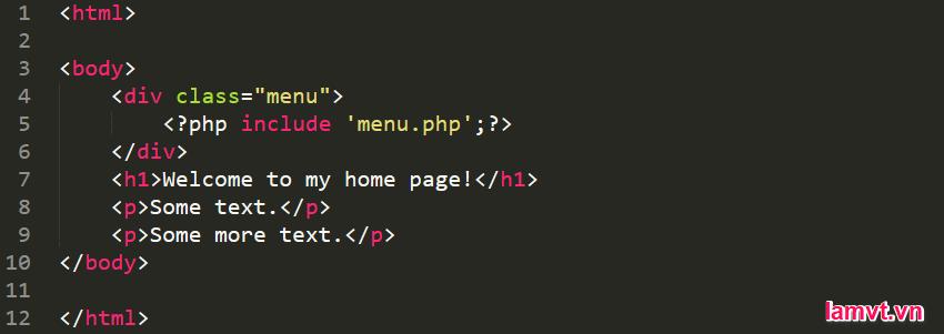 Làm thế nào để chèn một tập tin trong PHP? include-menu-code-1