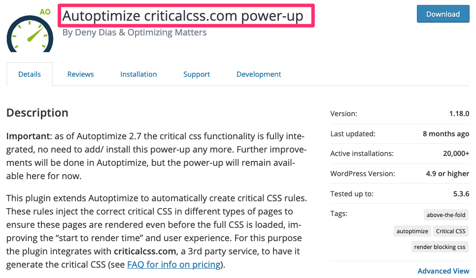 Cách tối ưu Google Lighthouse Core Web Vitals chi tiết cho WordPress 2021 Autoptimize_criticalcss_com_power